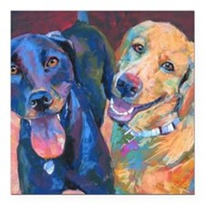 """Happy Dogs Square Car Magnet 3"""" X 3"""""""