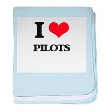 I Love Pilots baby blanket