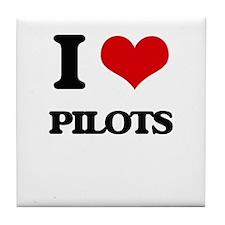 I Love Pilots Tile Coaster