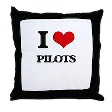 I Love Pilots Throw Pillow