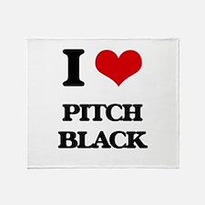 I Love Pitch Black Throw Blanket