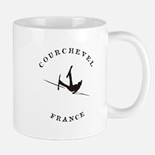 Courchevel France Funny Falling Skier Mugs
