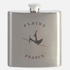 Flaine France Funny Falling Skier Flask
