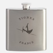 Tignes France Funny Falling Skier Flask