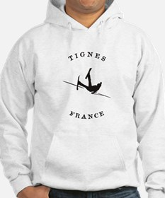 Tignes France Funny Falling Skier Hoodie