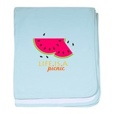 Life Is A Picnic baby blanket