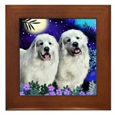 Great Pyrenees Dogs Moon Garden Framed Tile