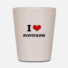 I Love Pontoons Shot Glass