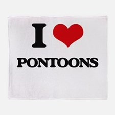 I Love Pontoons Throw Blanket