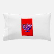Red Vibrant Menorah Blue Hanukkah Pillow Case