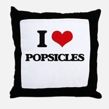 I Love Popsicles Throw Pillow