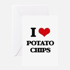 I Love Potato Chips Greeting Cards