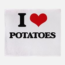 I Love Potatoes Throw Blanket