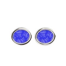 Ice Crystals Blue Oval Cufflinks