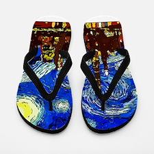 Starry Night Chicago Flip Flops