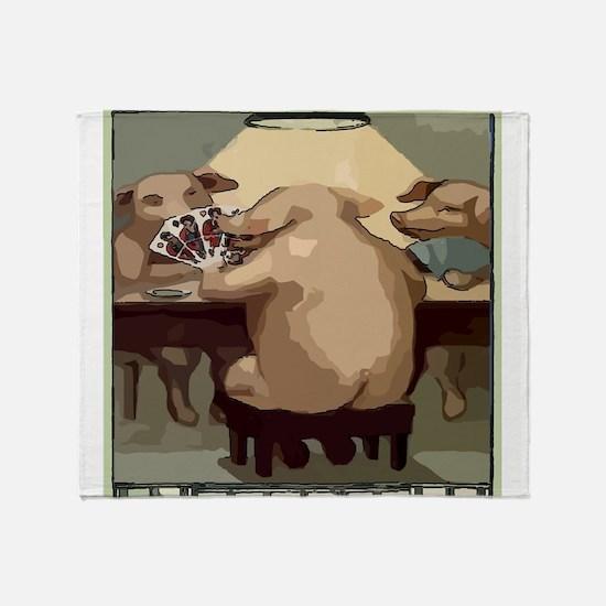 Poker Hogs Throw Blanket