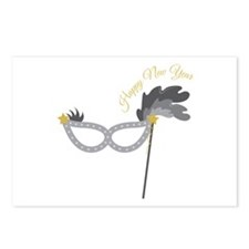 New Year Mask Postcards (Package of 8)