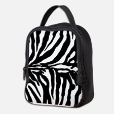 Zebra stripe, black & white Neoprene Lunch Bag