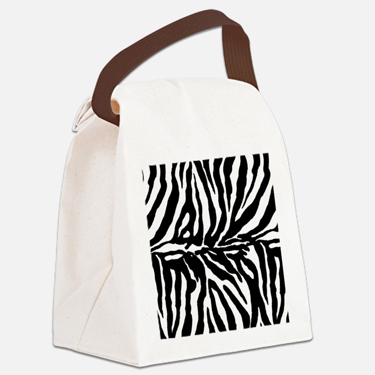 Zebra stripe, black & white Canvas Lunch Bag