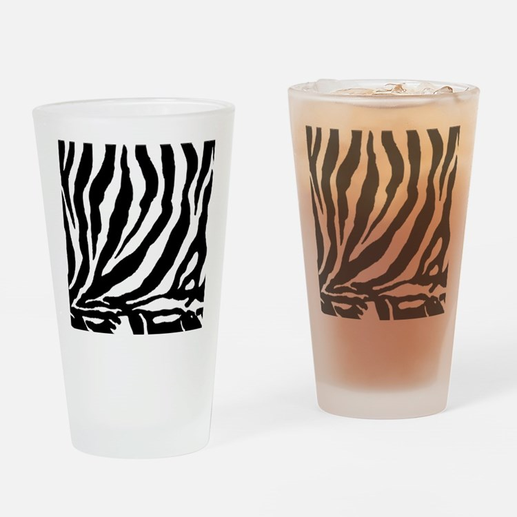 Zebra stripe, black & white Drinking Glass