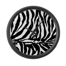 Zebra stripe, black & white Large Wall Clock