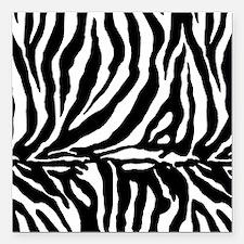 """Zebra stripe, black & wh Square Car Magnet 3"""" x 3"""""""