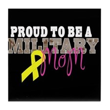 Proud to Be Military Mom Tile Coaster