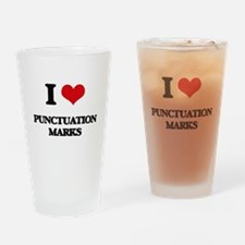 I Love Punctuation Marks Drinking Glass