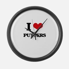 I Love Putters Large Wall Clock