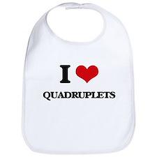 I Love Quadruplets Bib