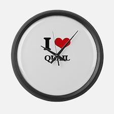 I Love Quail Large Wall Clock
