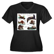 Otters of th Women's Plus Size V-Neck Dark T-Shirt