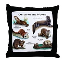 Otters of the World Throw Pillow