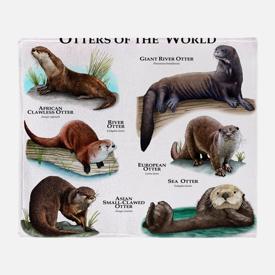 Otters of the World Throw Blanket