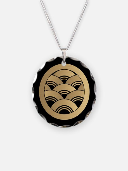 Golden Waves Japanese Kamon Necklace