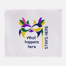WHAT HAPPENS HERE Throw Blanket