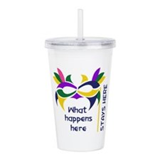 WHAT HAPPENS HERE Acrylic Double-wall Tumbler
