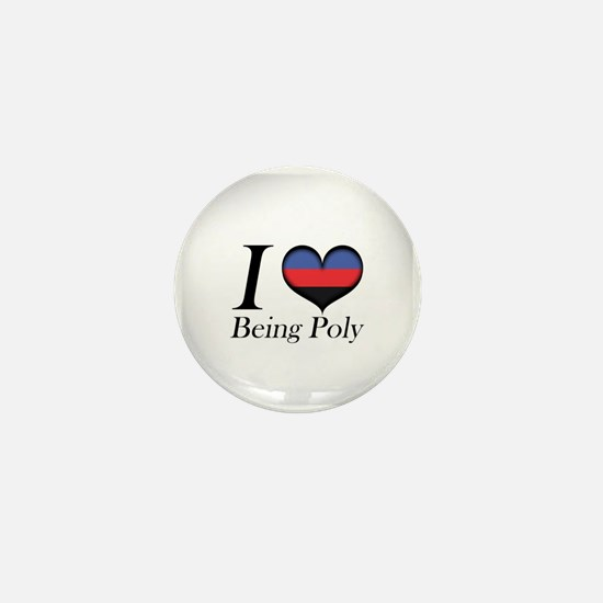 I Heart Being Poly Mini Button
