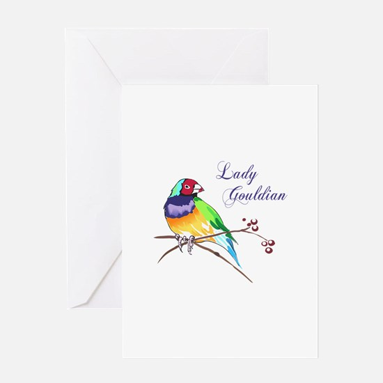 LADY GOULDIAN FINCH Greeting Cards