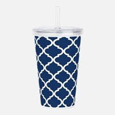 Navy Blue White Quatre Acrylic Double-wall Tumbler