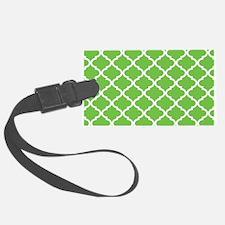 Lime White Quatrefoil Pattern Luggage Tag