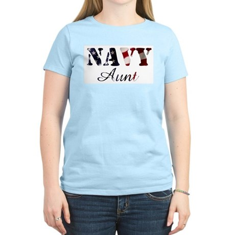 Navy Aunt Flag Women's Light T-Shirt