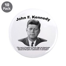 """JFK Freedom 3.5"""" Button (10 pack)"""