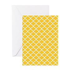 Yellow White Quatrefoil Pattern Greeting Card