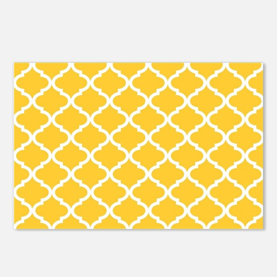 Yellow White Quatrefoil P Postcards (Package of 8)
