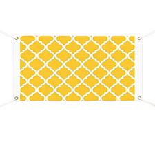 Yellow White Quatrefoil Pattern Banner