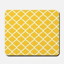 Yellow White Quatrefoil Pattern Mousepad