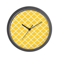 Yellow White Quatrefoil Pattern Wall Clock