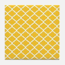 Yellow White Quatrefoil Pattern Tile Coaster