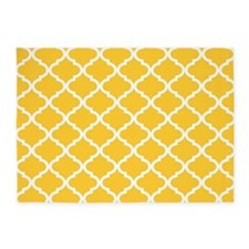 Yellow White Quatrefoil Pattern 5'x7'Area Rug